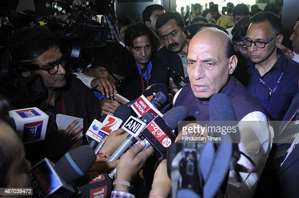 Home Minister Rajnath Singh arrives to attend the inaugural session of Counter Terrorism Conference 2015 at Marriott Hotel on March 19 2015 in Jaipur...
