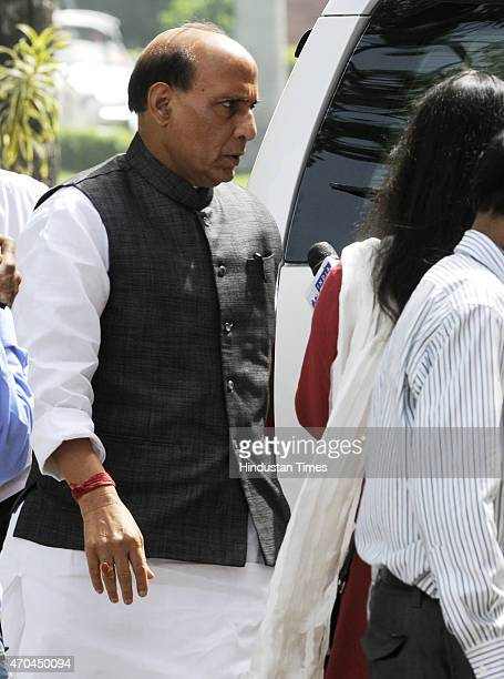 Home Minister Rajnath Singh at Parliament during the second phase of the Budget Session on April 20 2015 in New Delhi India Congress leader Rahul...