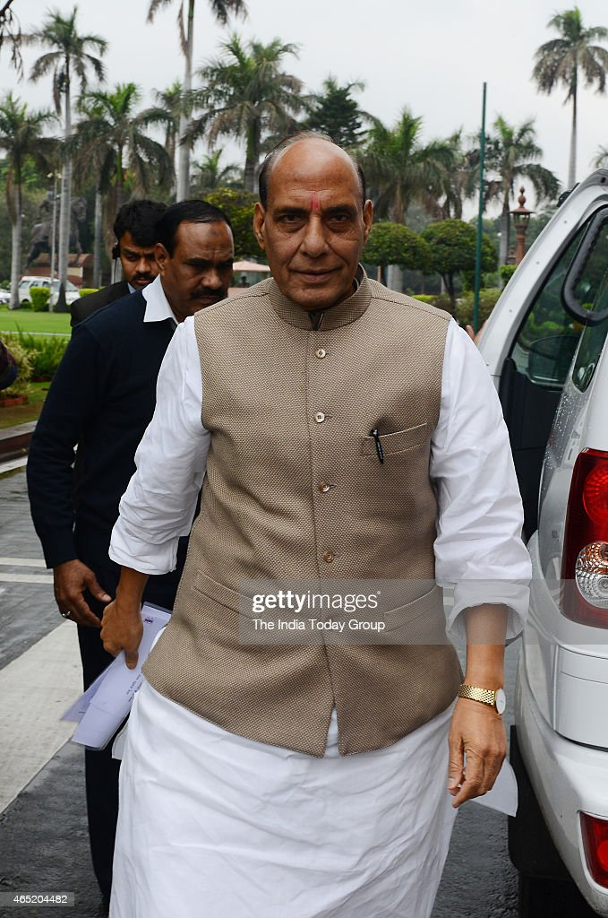 Home Minister <a gi-track='captionPersonalityLinkClicked' href=/galleries/search?phrase=Rajnath+Singh&family=editorial&specificpeople=582959 ng-click='$event.stopPropagation()'>Rajnath Singh</a> at Parliament House in New Delhi.
