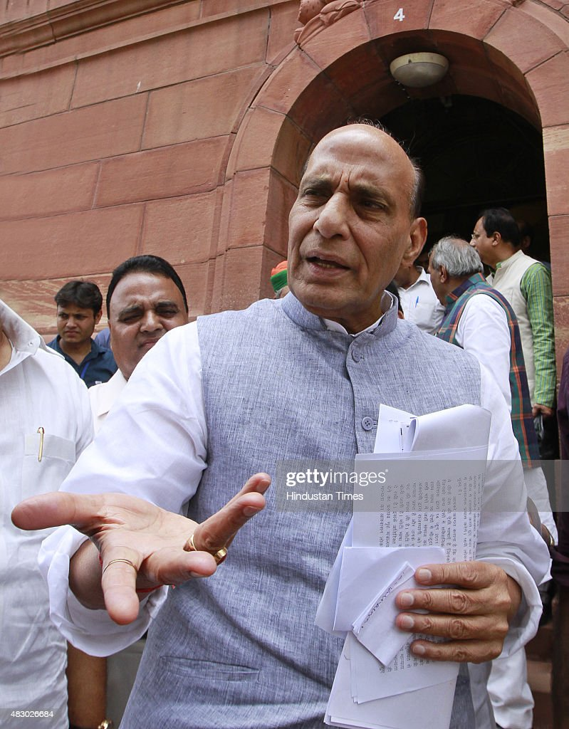 Home Minister <a gi-track='captionPersonalityLinkClicked' href=/galleries/search?phrase=Rajnath+Singh&family=editorial&specificpeople=582959 ng-click='$event.stopPropagation()'>Rajnath Singh</a> at Parliament House, on August 5, 2015 in New Delhi, India. Congress and some opposition parties on Wednesday persisted with their protest against the suspension of 25 MPs as the stalemate in the Rajya Sabha continued over the opposition demand for the resignations of three BJP leaders.
