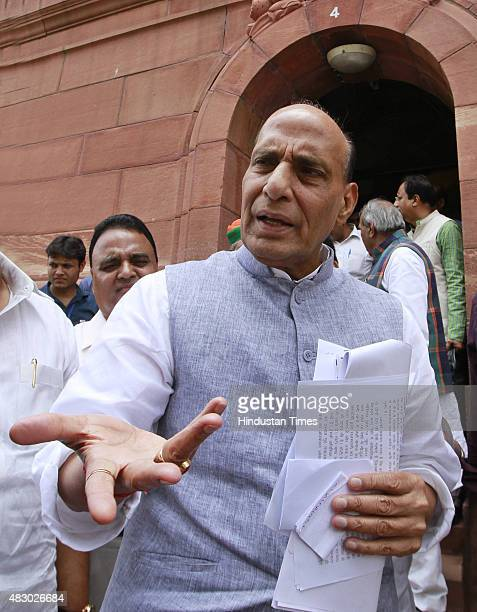 Home Minister Rajnath Singh at Parliament House on August 5 2015 in New Delhi India Congress and some opposition parties on Wednesday persisted with...