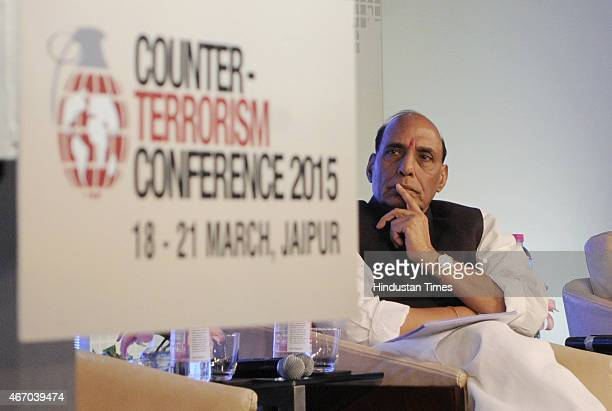 Home Minister Rajnath Singh at the inaugural session of Counter Terrorism Conference 2015 at Marriott Hotel on March 19 2015 in Jaipur India The...