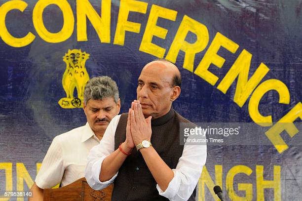 Home Minister Rajnath Singh during a press conference on law and order situation in the valley at the Technical Airport on July 24 2016 in Srinagar...