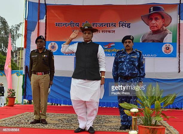 Home Minister Rajnath Singh during the inauguration of a Hospital and mess at 101 BN RAPID ACTION FORCE at Shantipuram Phaphamau in Allahabad