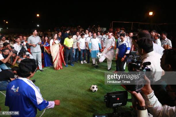 Home Minister Rajnath Singh kicks off the ball during the launch of Oorja by CAFP U19 Football Talent Tournament at India Gate on April 20 2017 in...