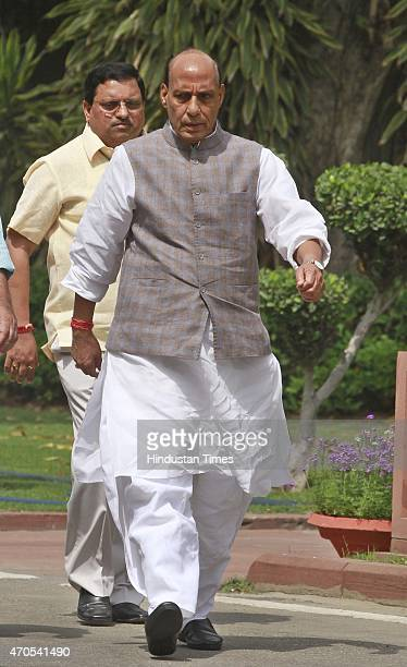 Home minister Rajnath Singh leaves after attending the BJP parliamentary board meeting on April 21 2015 in New Delhi India PM Modi has called a...