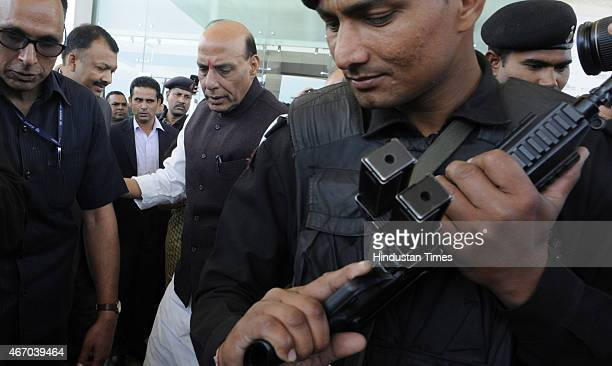 Home Minister Rajnath Singh leaves after attending the inaugural session of Counter Terrorism Conference 2015 at Marriott Hotel on March 19 2015 in...