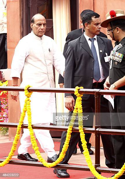 Home Minister Rajnath Singh leaving after attending the 69th Independence Day celebration at Red Fort on August 15 2015 in New Delhi India In his...