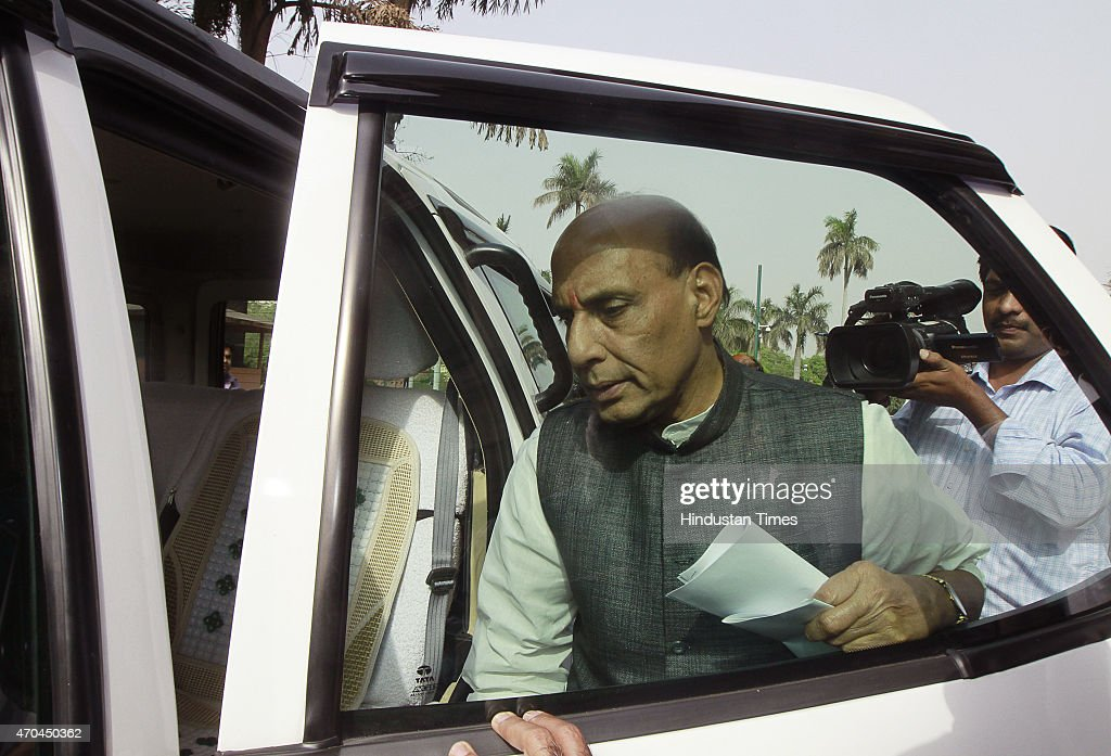 Home minister <a gi-track='captionPersonalityLinkClicked' href=/galleries/search?phrase=Rajnath+Singh&family=editorial&specificpeople=582959 ng-click='$event.stopPropagation()'>Rajnath Singh</a> on the first day of the second part of Budget session at Parliament House on April 20, 2015 in New Delhi, India. Congress leader Rahul Gandhi today sharpened his attack on Prime Minister Narendra Modi, accusing his suit-boot government of being pro-industrialists while ignoring the plight of farmers and farm labour.