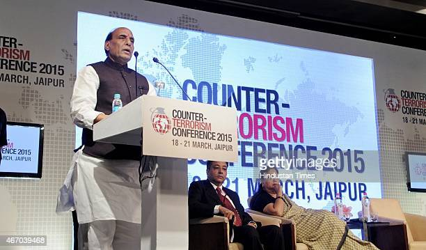 Home Minister Rajnath Singh speaks at the inaugural session of Counter Terrorism Conference 2015 at Marriott Hotel on March 19 2015 in Jaipur India...