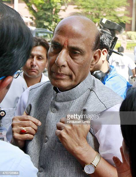 Home Minister Rajnath Singh talks with media persons at Parliament House during the Budget session on April 22 2015 in New Delhi India