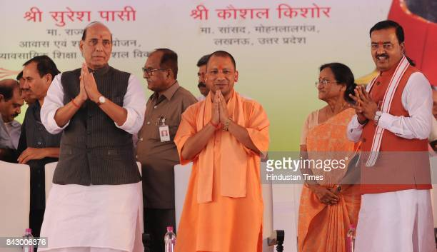 Home Minister Rajnath Singh UP Chief Minister Yogi Adityanath during the inauguration function of Metro Rail from Transport Nagar to Charbagh on...