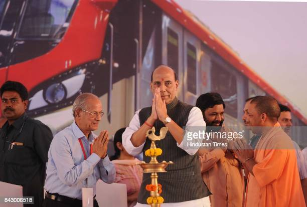 Home Minister Rajnath Singh UP Chief Minister Yogi Adityanath during the inauguration of Metro Rail from Transport Nagar to Charbagh on September 5...