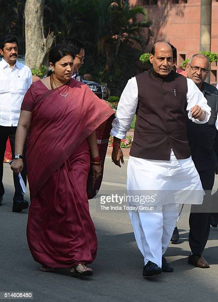 Home Minister Rajnath Singh with HRD Minister Smriti Irani after attending the BJP Parliamentary Party meeting in New Delhi