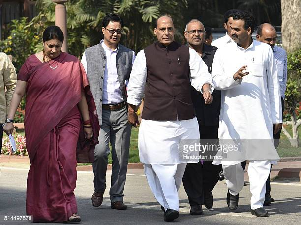 Home Minister Rajnath Singh with Union HRD Minister Smriti Irani after the BJP Parliamentary Party meeting at Parliament House Library on March 9...