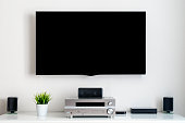 Home multimedia center. Room interior. Black LCD screen.