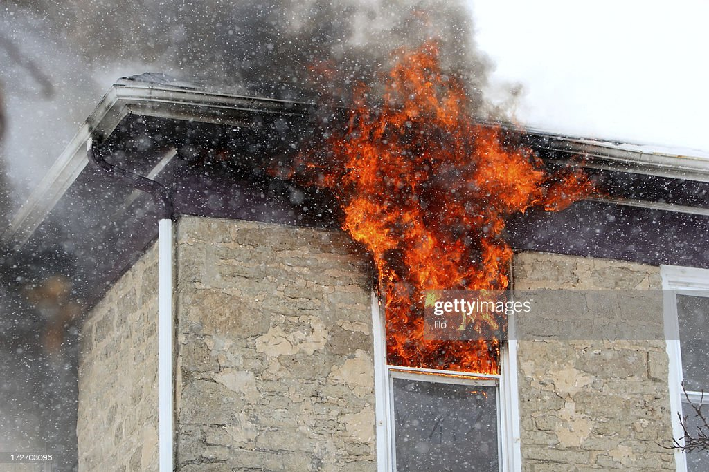 Home on Fire : Stock Photo