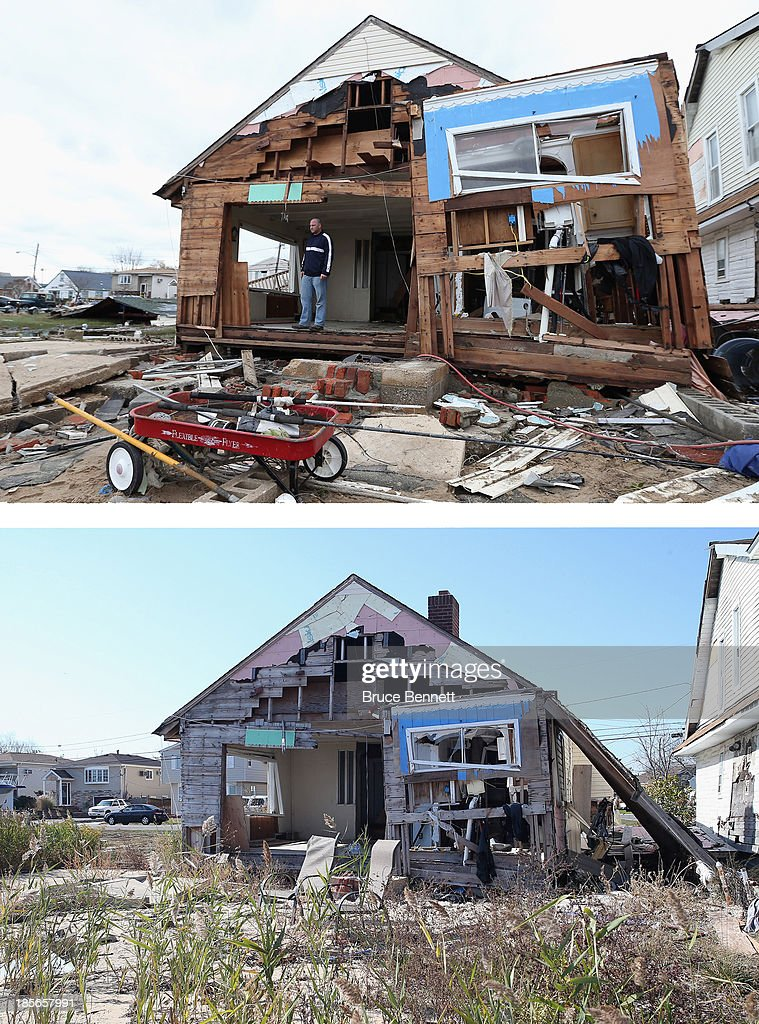 Gary Silberman surveys his home that was destroyed by Hurricane Sandy on October 31, 2012 in Lindenhurst, New York, United States. LINDENHURST, NY - OCTOBER 22: (bottom) A home on Venetian Boulevard sits still damaged by Superstorm Sandy on October 22, 2013 in Lindenhurst, New York. Hurricane Sandy made landfall on October 29, 2012 near Brigantine, New Jersey and affected 24 states from Florida to Maine and cost the country an estimated $65 billion.