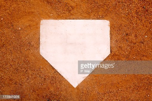 Home plate in baseball on sand