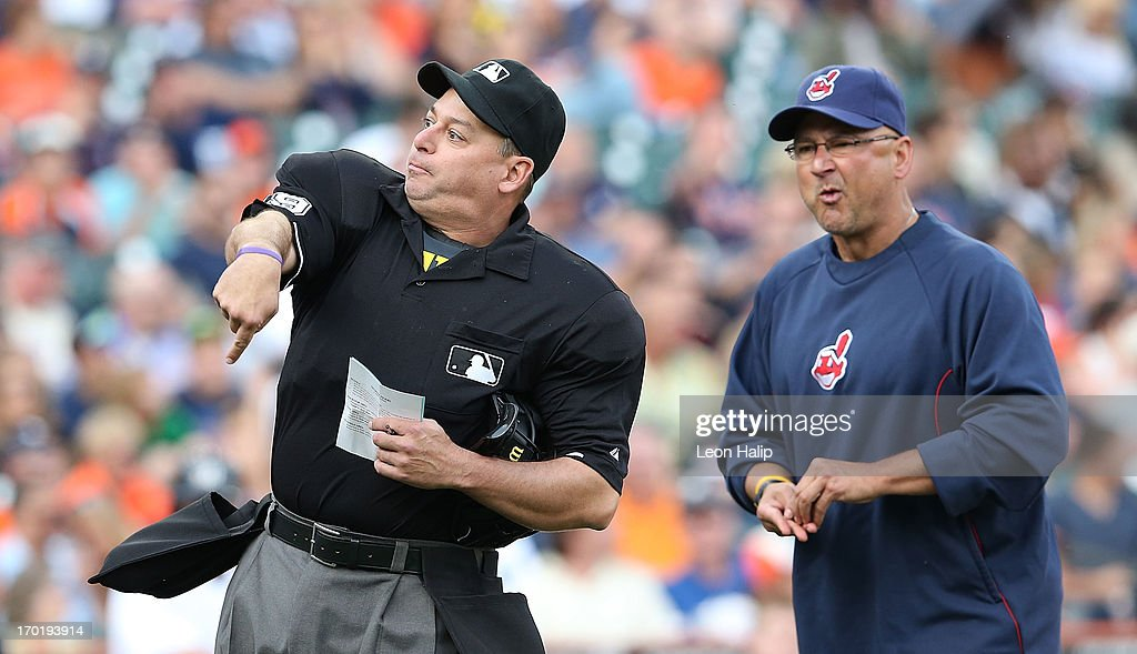 Home plate umpire Andy Fletcher throws Cleveland Indians manager <a gi-track='captionPersonalityLinkClicked' href=/galleries/search?phrase=Terry+Francona&family=editorial&specificpeople=171936 ng-click='$event.stopPropagation()'>Terry Francona</a> #17 out of the game in the eighth inning during the game against the Detroit Tigers at Comerica Park on June 8, 2013 in Detroit, Michigan. The Tigers defeated the Indians 6-4.