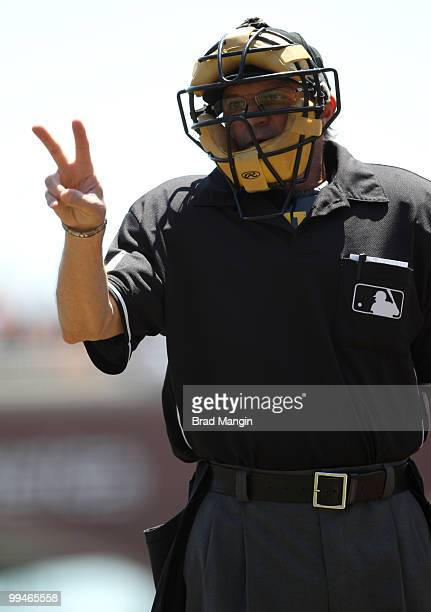 Home plate umpire Bill Hohn works during the game between the San Diego Padres and the San Francisco Giants on Thursday May 13 at ATT Park in San...