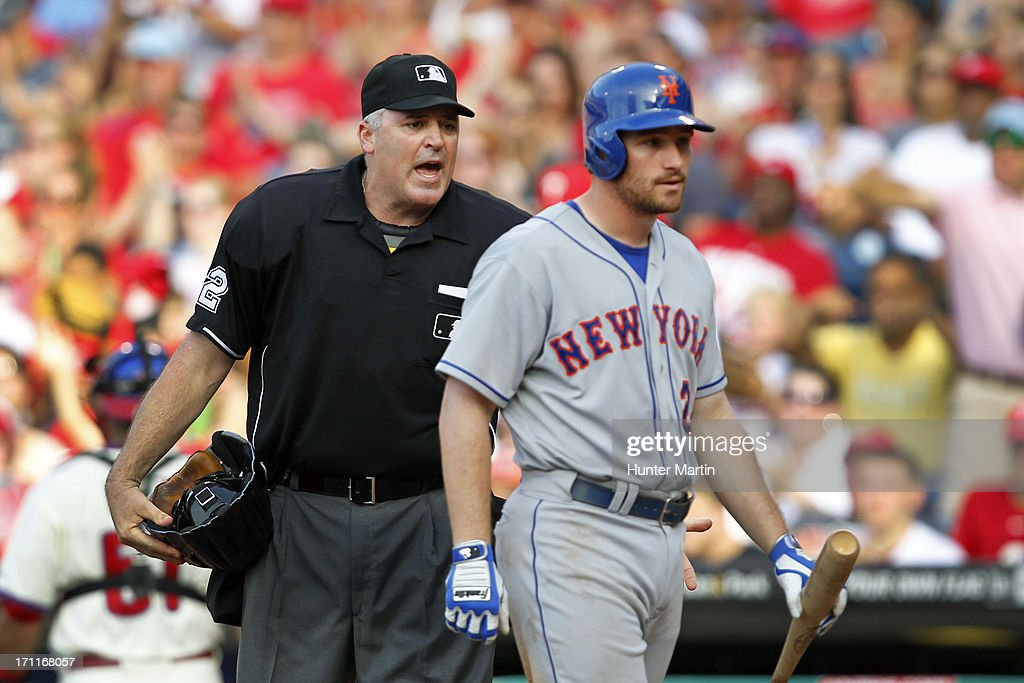 Home plate umpire Bill Welke yells at Daniel Murphy #28 of the New York Mets after Murphy complained about a called third strike during a game against the Philadelphia Phillies at Citizens Bank Park on June 22, 2013 in Philadelphia, Pennsylvania. The Phillies won 8-7.
