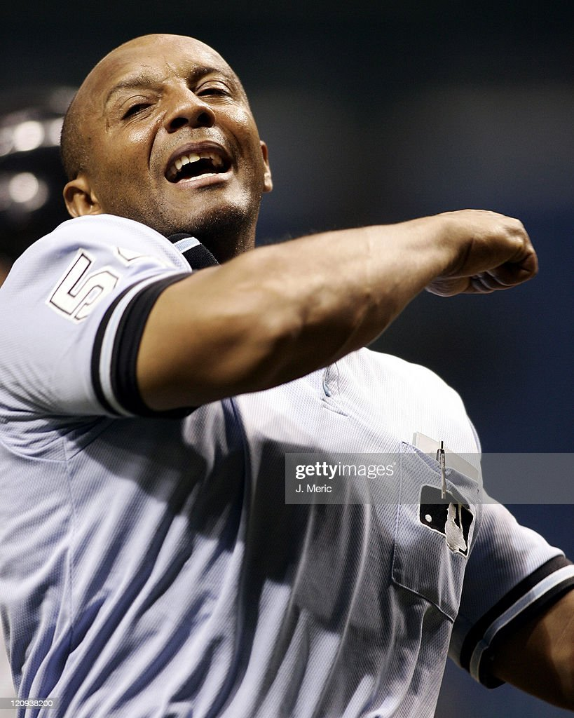 Home plate umpire C.B. Bucknor ejects Toronto Blue Jays manager <a gi-track='captionPersonalityLinkClicked' href=/galleries/search?phrase=John+Gibbons&family=editorial&specificpeople=218120 ng-click='$event.stopPropagation()'>John Gibbons</a> in the third inning of Monday night's game against the Tampa Bay Devil Rays at Tropicana Field in St. Petersburg, Florida on June 27, 2005.