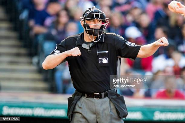 Home plate umpire Lance Barrett calls Chicago White Sox outfielder Adam Engel out on strikes to end the fifth inning of the Major League Baseball...