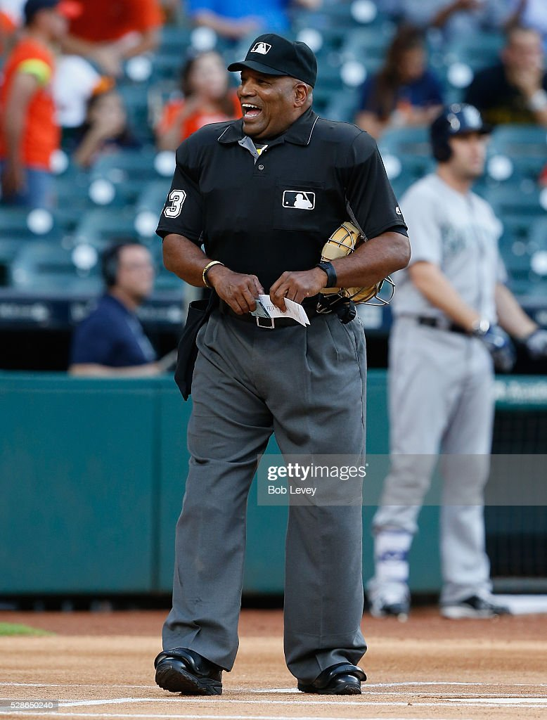 Home plate umpire Laz Diaz during the Seattle Mariners and Houston Astros on May 05 2016 in Houston Texas