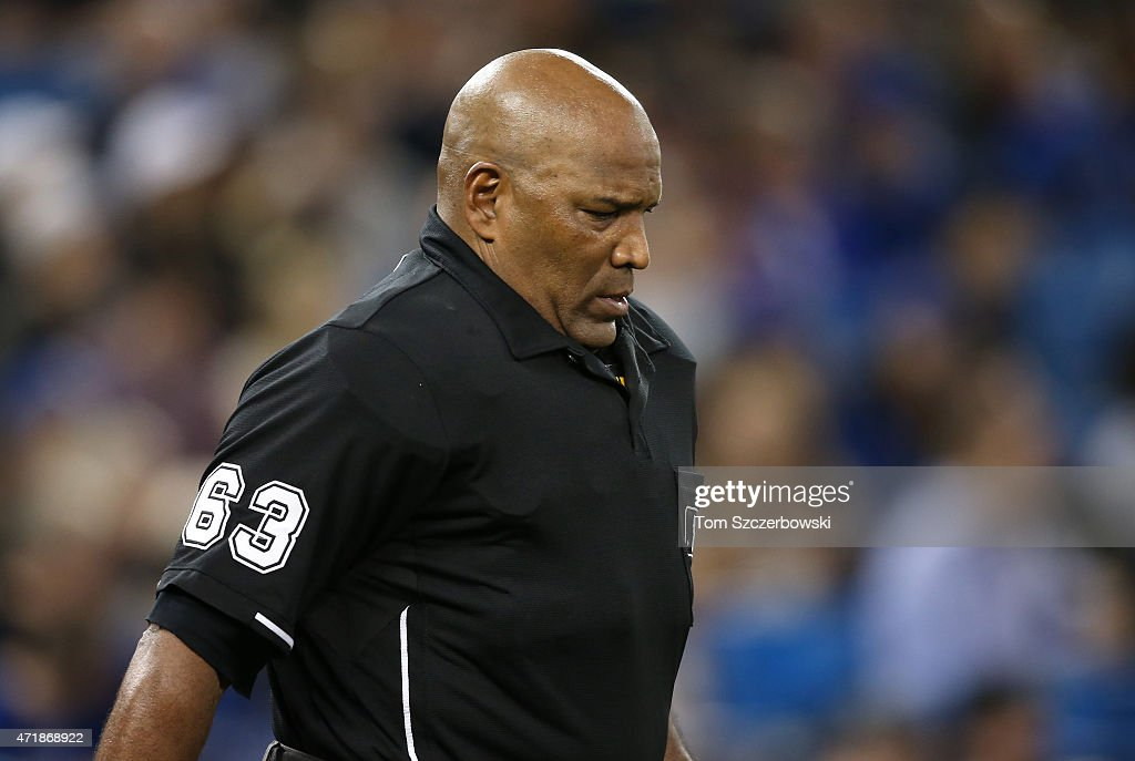 Home plate umpire Laz Diaz during the Toronto Blue Jays MLB game against the Tampa Bay Rays on April 16 2015 at Rogers Centre in Toronto Ontario...