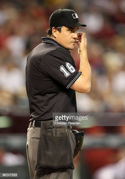 Home plate umpire Mike DiMuro during the major league baseball game between the Houston Astros and the Arizona Diamondbacks at Chase Field on August...