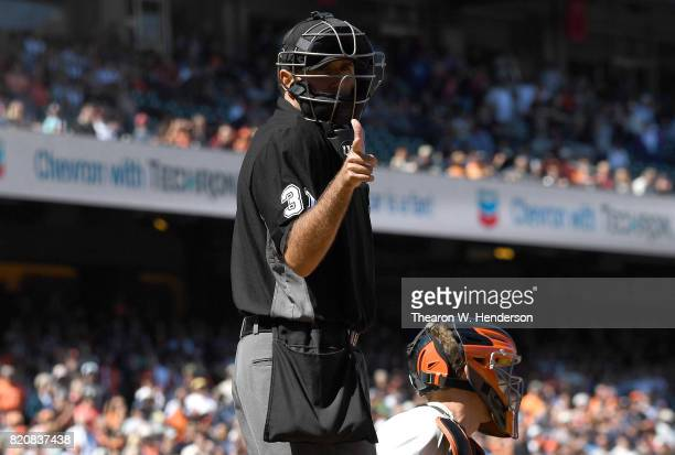 Home plate umpire Pat Hoberg calls a strike on a Cleveland Indians batter against the San Francisco Giants in the top of the ninth inning at ATT Park...