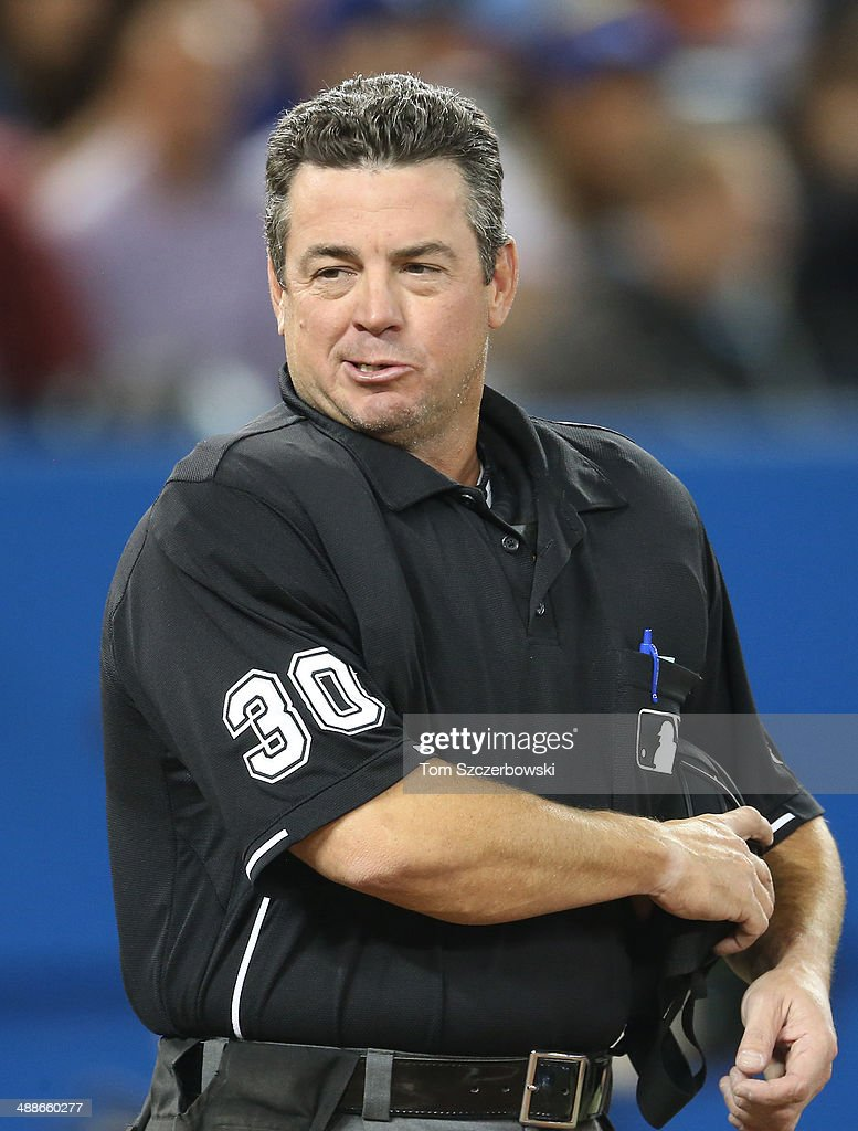 Home plate umpire Rob Drake during the Toronto Blue Jays MLB game against the Boston Red Sox on April 25 2014 at Rogers Centre in Toronto Ontario...