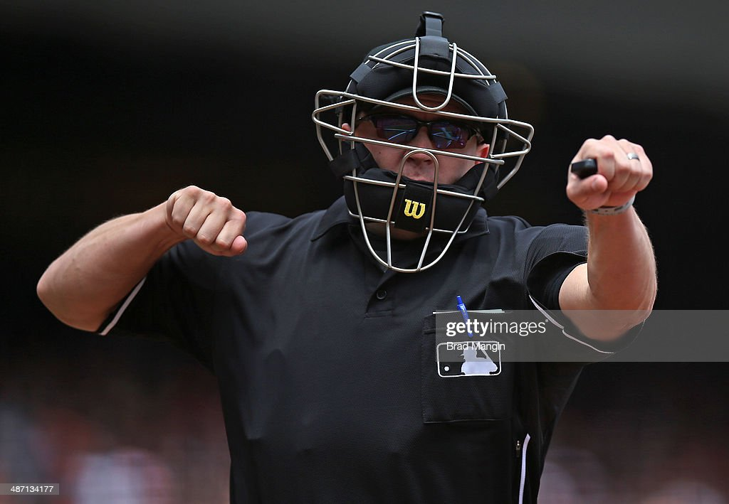 Home plate umpire Scott Barry calls a batter out on strikes during the game between the Cleveland Indians and San Francisco Giants at ATT Park on...