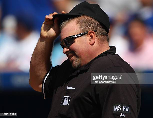Home plate umpire Wally Bell during MLB game action between the New York Mets and the Toronto Blue Jays on May 20 2012 at Rogers Centre in Toronto...