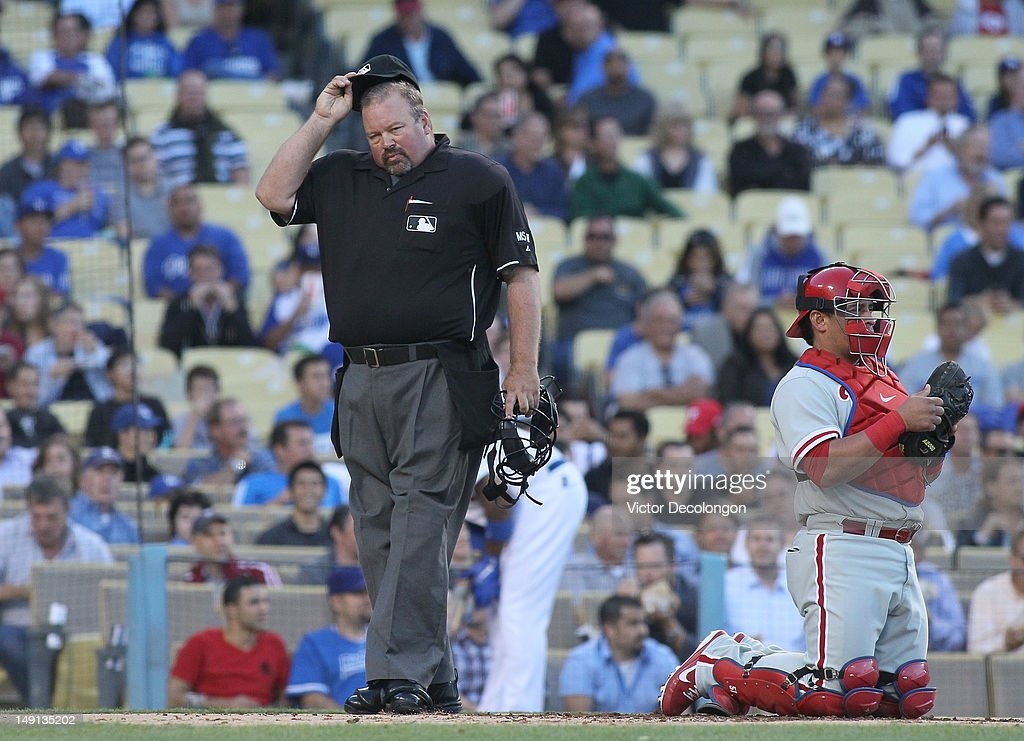 MLB home plate umpire <a gi-track='captionPersonalityLinkClicked' href=/galleries/search?phrase=Wally+Bell&family=editorial&specificpeople=228019 ng-click='$event.stopPropagation()'>Wally Bell</a> #35 looks on duringthe MLB game between the Philadelphia Phillies and the Los Angeles Dodgers at Dodger Stadium on July 17, 2012 in Los Angeles, California. The Phillies defeated the Dodgers 3-2.