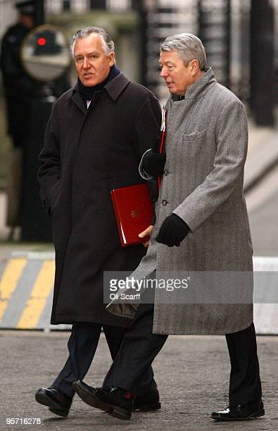 Home Secretary Alan Johnson and Peter Hain the Welsh Secretary arrive in Downing Street on January 12 2009 in London England The Home Secretary Alan...