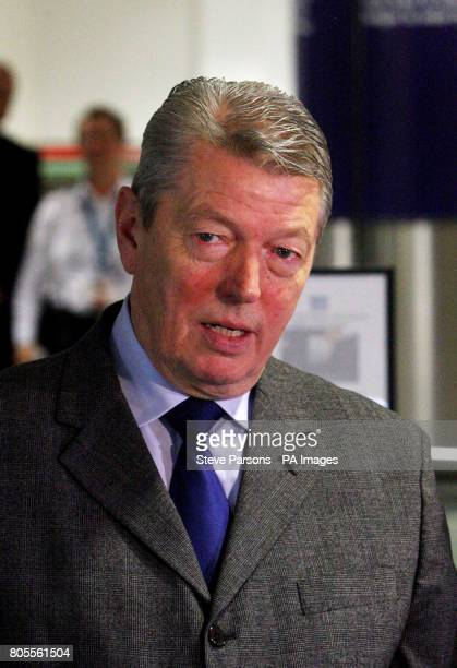 Home Secretary Alan Johnson visits the new fast track facial recognition gates in the North Terminal of Gatwick airport Sussex