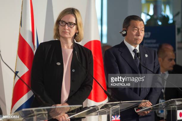 Home Secretary Amber Rudd and Japanese Chairperson of the National Pubblic Safety Commission Hachiro Okonogi attend to a press conference during the...