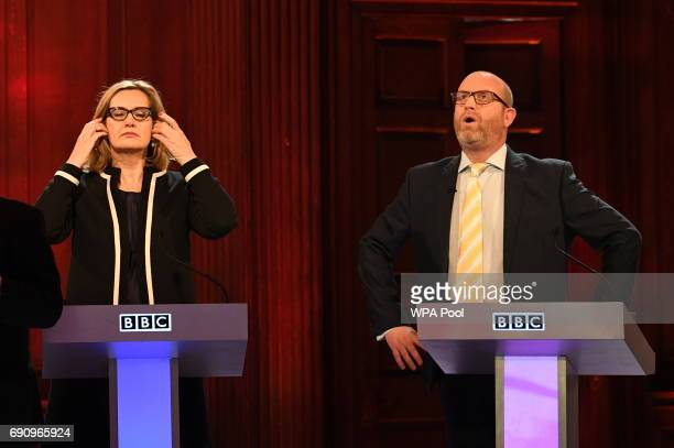 Home Secretary Amber Rudd and Ukip leader Paul Nuttall take part in the BBC Election Debate hosted by BBC news presenter Mishal Husain as it is...