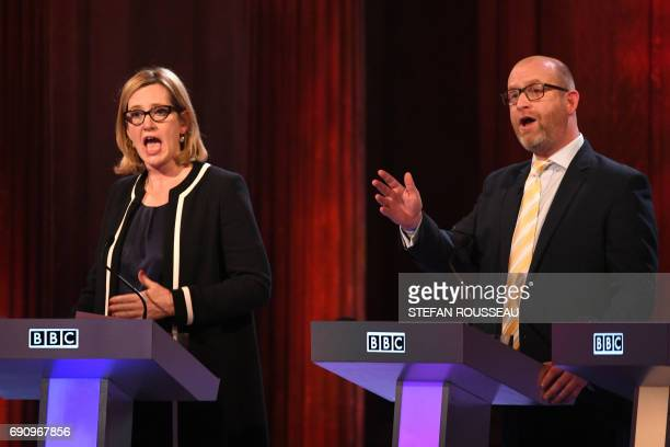 Home Secretary Amber Rudd and Ukip leader Paul Nuttall take part in the BBC Election Debate hosted by BBC news presenter Mishal Husain and broadcast...