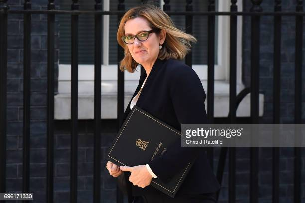 Home Secretary Amber Rudd arrives at 10 Downing Street on June 15 2017 in London England Prime Minister Theresa May is due to hold a series of...