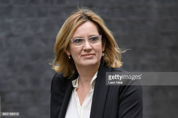 Home Secretary Amber Rudd arrives at number 10 Downing Street ahead of a cabinet meeting on March 14 2017 in London England Following a vote in...