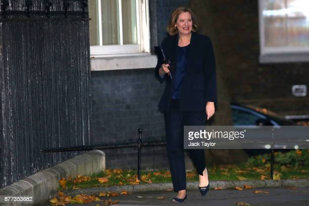 Home Secretary Amber Rudd arrives for a cabinet meeting ahead of the Chancellor's annual budget at 10 Downing Street on November 22 2017 in London...