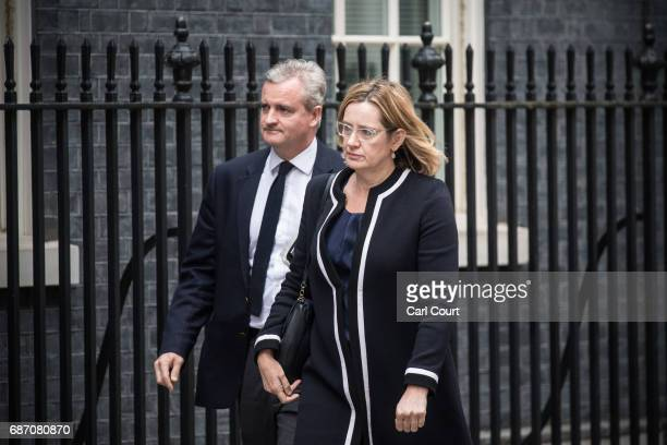 Home Secretary Amber Rudd arrives for a COBRA meeting in Downing Street on May 23 2017 in London England Prime Minister Theresa May has held a COBRA...
