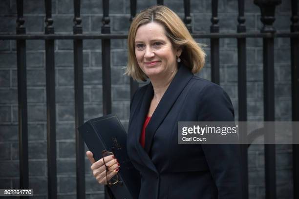 Home Secretary Amber Rudd arrives to attend a cabinet meeting in Downing Street on October 17 2017 in London England The Prime Minister is expected...