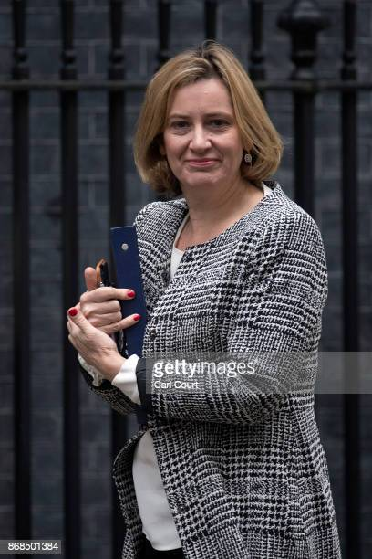 Home Secretary Amber Rudd arrives to attend a cabinet meeting in Downing Street on October 31 2017 in London England The Prime Minister is expected...