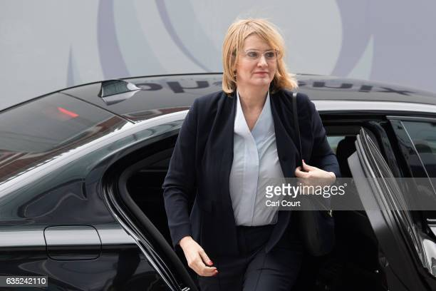 Home Secretary Amber Rudd arrives to attend the official opening of the National Cyber Security Centre on February 14 2017 in London England The...