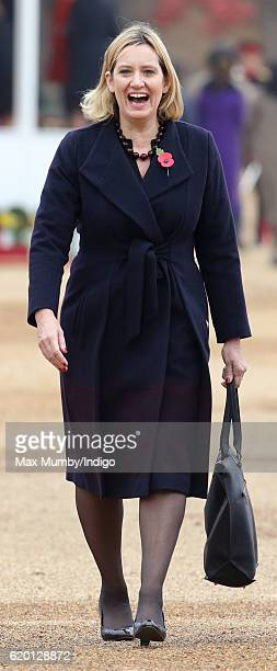 Home Secretary Amber Rudd attends the Ceremonial Welcome for the President of Colombia at Horse Guards Parade on November 1 2016 in London England...