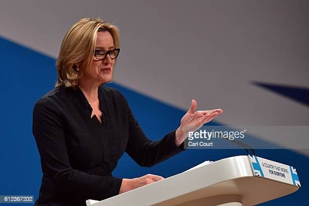 Home Secretary Amber Rudd delivers a her first speech as Home Secretary on the third day of the Conservative Party Conference 2016 at the...